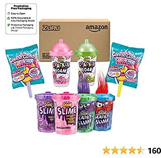 OOSH Slime Kit | Kit Includes Scented Fluffy Color Mix Slime, Crackle Foam and Compound Slime for Boys & Girls, 8 Count - Frustration Free Packaging