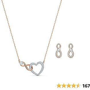 SWAROVSKI Women's Infinity Crystal Jewelry Set Collection, Rose Gold Tone and Rhodium Finish