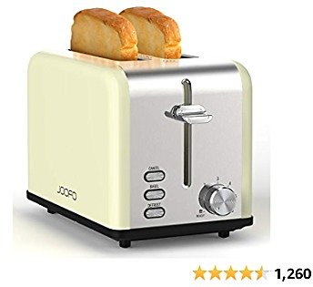 JOOFO Toaster, Toaster 2 Slice 6 Bread Shade Settings Bread Toaster, Extra Wide Slot and Removable Crumb Tray Toasting Bagels Defrost Reheat Cancel Functions