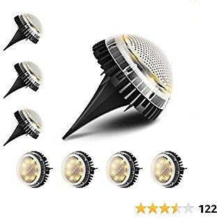 TOOLTOO Solar Ground Lights,8 LED IP67 Waterproof Solar Garden Lights Outdoor Solar Disk Lights for Pathway Patio Garden Lawn-Warm White (8 Packs)