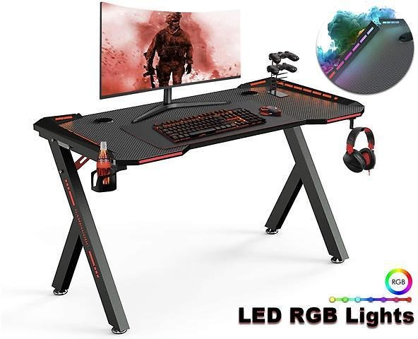 Ergonomic Gaming Desk, 47 Inch Y Shaped Home Office PC Computer Table