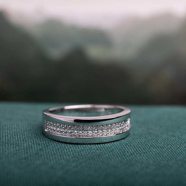 1/10ct TDW Diamond Men's Wedding Band in Sterling Silver By Miadora