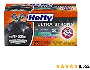 Hefty Ultra Strong Multipurpose Large Trash Bags, Black, White Pine Breeze Scent, 30 Gallon, 25 Count