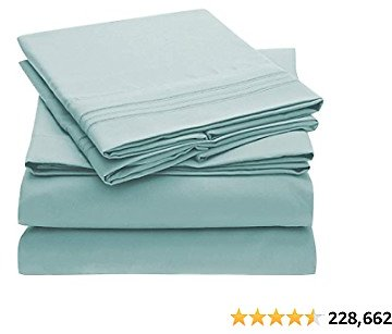 Mellanni Bed Sheet Set - Brushed Microfiber 1800 Bedding - Wrinkle, Fade, Stain Resistant - 3 Piece (Twin, Baby Blue)