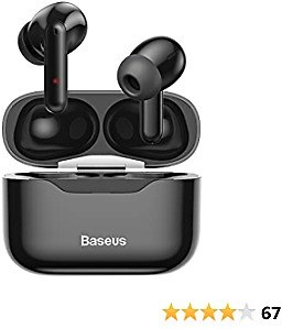 Baseus S1 Wireless Earbuds Active Noise Cancelling, Bluetooth 5.1 Smart Touch Control ANC IPX6 Waterproof Headphones In-Ear with Microphone Built-in Mic Headset TWS Stereo Earphones Black