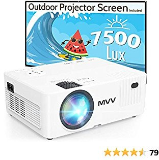 MVV 1080P Projector with 100'' Screen, Portable CompatibProjector for Outdoor Movies Le with Smartphone TV Stick HDMI USB