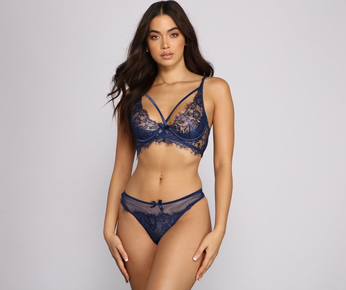 Sheer Lace Caged Bra And Panty Set