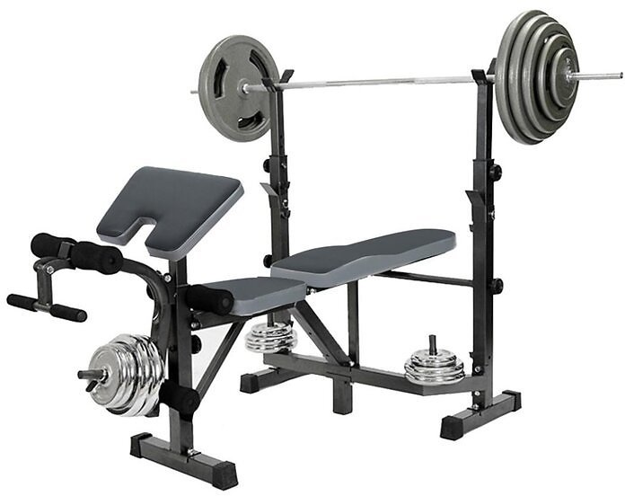 Dumbbell Bench Weightlifting With Preacher Curl Leg Developer And Crunch Handle