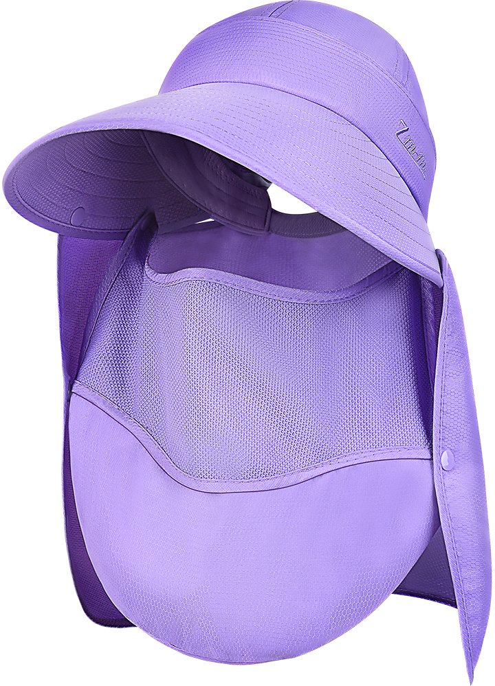 4 in 1 Women's Sun Hats - VBIGER Floppy Sun Hat Foldable Wide Brim Hat UV Protection Sun Cap with Face and Neck Flaps, Purple