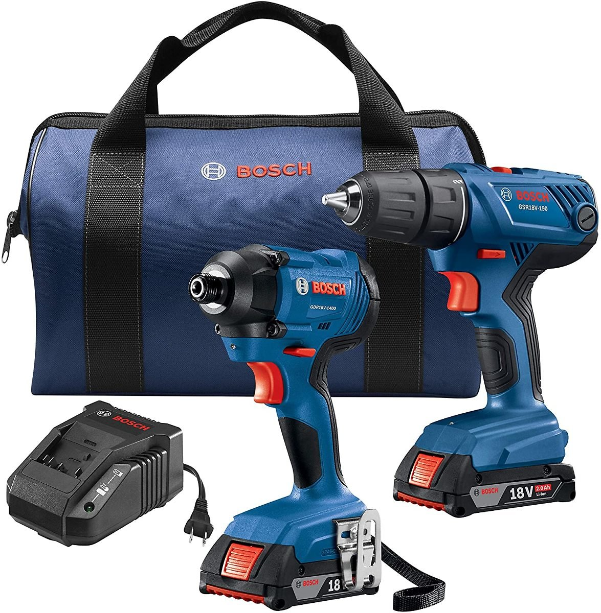 BOSCH 18V 2-Tool Combo Kit with 1/2 In. Compact Drill/Driver and 1/4 In. Hex Impact Driver GXL18V-26B22