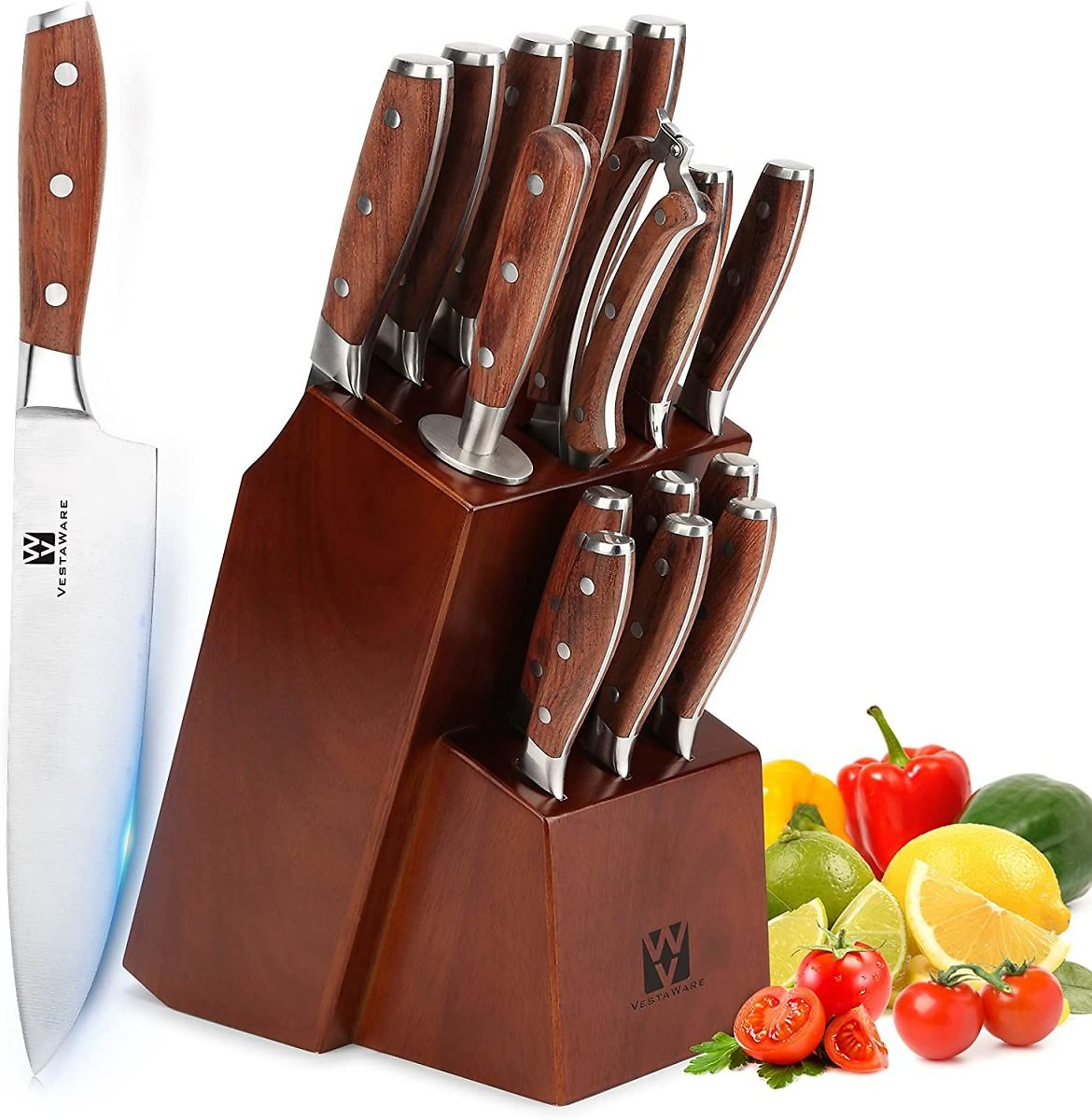 Knives Set for Kitchen, Vestaware 16-Piece Knives Set with Block Wooden, German Stainless Steel Forged Chef Knife Set Profession