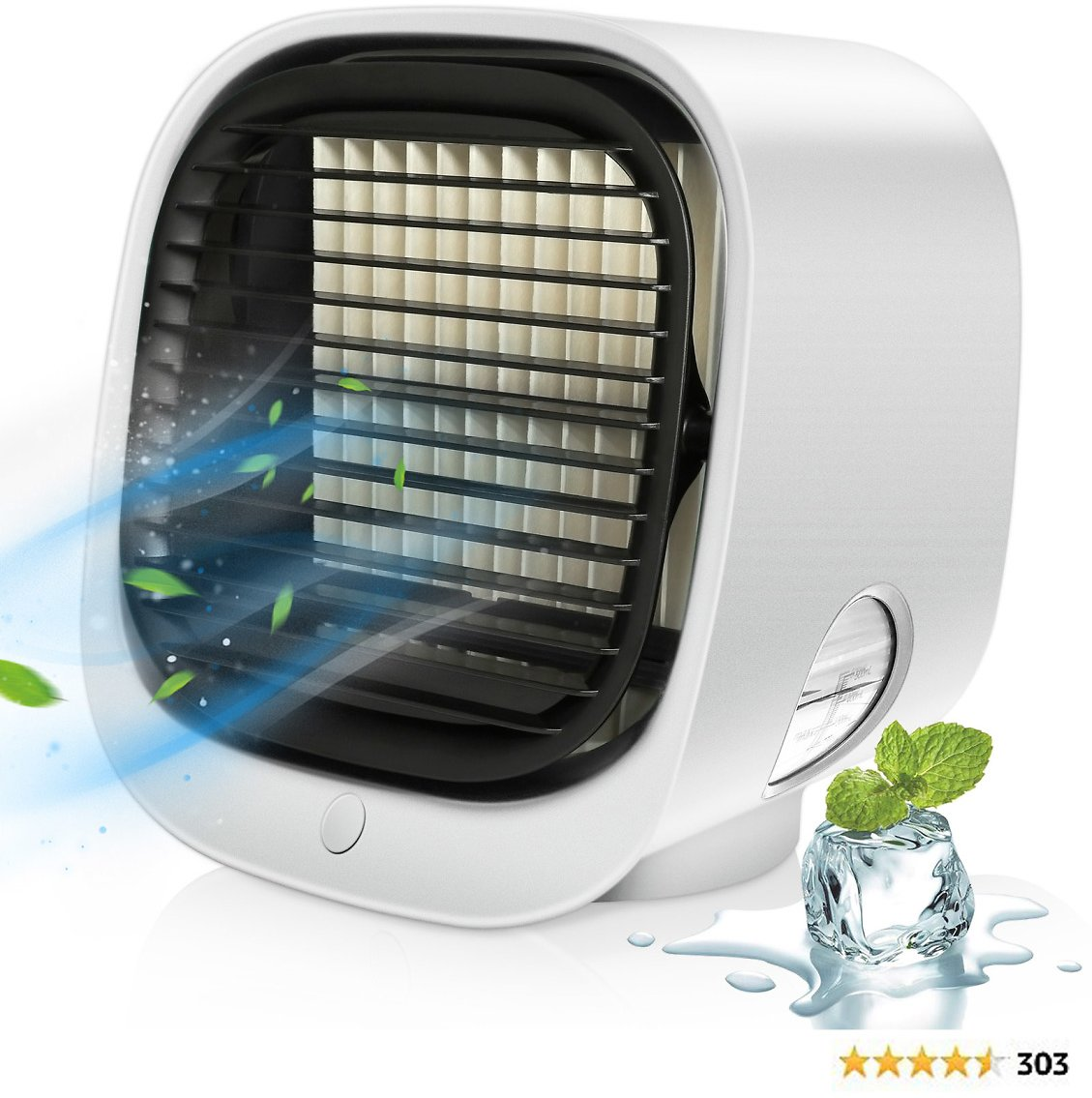 Portable Air Conditioner, Mini Personal Air Cooler Desk Small AC Unit with LED Light USB 3 Speeds Fan