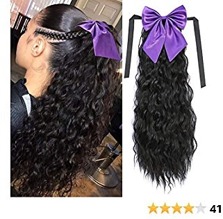 Long Corn Wave Drawstring Ponytail Synthetic Extensions with Bowknot