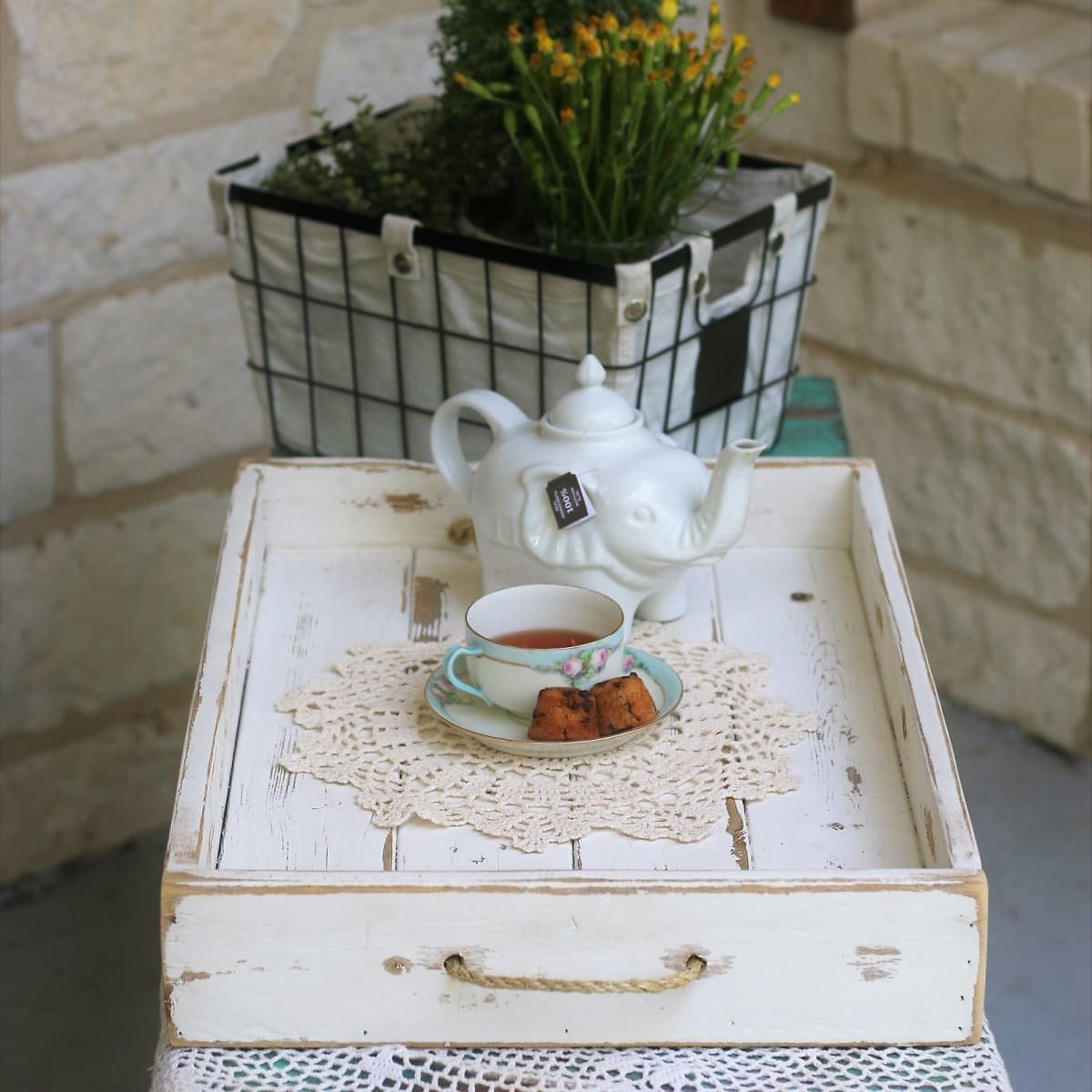 Farmhouse Rope Accent Serving Tray