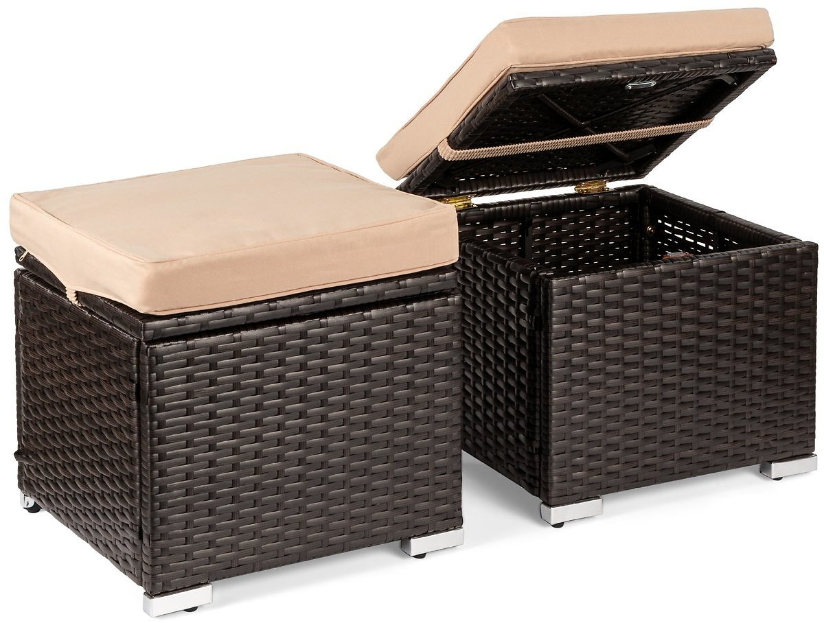 Set of 2 Wicker Ottomans, Multipurpose w/ Removable Cushions, Steel Frame