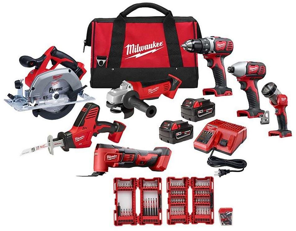 Milwaukee M18 18-Volt Lithium-Ion Cordless Combo Tool Kit (7-Tool) w/ 2 Batteries, Charger, Tool Bag & Bit Set + F/S