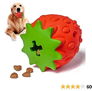 YOUMI Dog Treat Toy, Dog Chew Toys, Nontoxic Bite Resistant Dog Interactive Toy, Dog Food Leaking, Teeth Cleaning, Strawberry Food Grade Small/Medium/Large Dogs's Toys, IQ Training