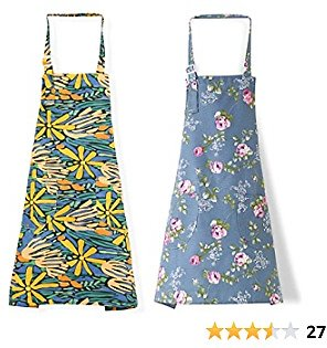2 PCS Cotton Linen Cooking Baking Kitchen Aprons for Women with Pockets