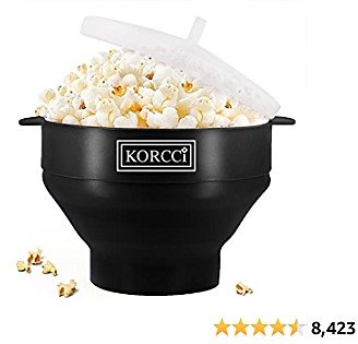Original Microwaveable Silicone Popcorn Popper, BPA Free Microwave Popcorn Popper, Collapsible Microwave Popcorn Maker Bowl, Use In Microwave, Dishwasher Safe - Various Colors Available (Black)