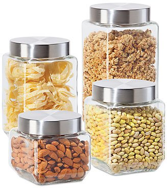 Square Glass Food Storage Canisters, Set of 4