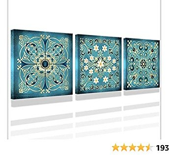 Pictures for Bathrooms Vintage Flowers Pattern Bathroom Wall Art Decor Guestroom Decorations Canvas Prints Wall Art for Bedroom Art12x12 Inch 3 Pieces Iving Room Bedroom Decoration Can Be Hung Image