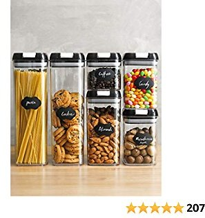 Food Storage Containers, Airtight Containers Set with Easy Lock Lids, Leakproof Durable Food Grade Kitchen Canisters Pantry Organization and Storage, 6 Food Containers with 20 Labels and 1 Maker Pen