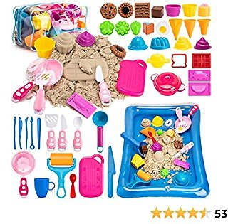 Play Sand for Kids Sandbox - 44Pcs Cake Ice Cream Sand Toys, 3lbs All-Natural Scented Sensory Sand + Inflatable Tray + Storage Bag, Cookware Molds for Boys Girls Gifts Cooking Serving Tools