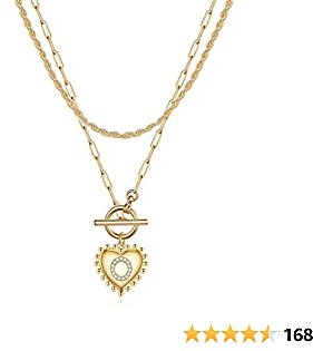 IEFWELL Gold Necklaces for Women Girls, Heart Pendant Gold Chain Necklaces for Women Layering Necklaces for Girls Jewelry