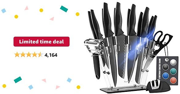 Limited-time Deal: Wanbasion Black 16 Pieces Kitchen Knife Set Dishwasher Safe, Professional Chef Kitchen Knife Set, Kitchen Knife Set Stainless Steel with Knife Sharpener Peeler Scissors Acrylic Block