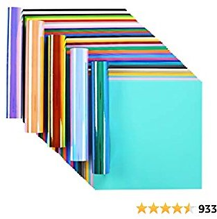 Lya Vinyl 65 Adhesive Vinyl Sheets & 5 Holographic Vinyl Paper for Home Decor, Logo, Letters, Banners, Window Graphics, Car Exteriors, Glass Mirrors, Scrapbooking, Sign Plotters - 12 X 12 Inchs