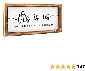 HOSROOME This Is Us Wooden Wall Sign Decorations For Living Room Modern Farmhouse Decor with Wood Frame Rustic Farmhouse Decor for Home,Entryway,Bathroom,Laundry Room