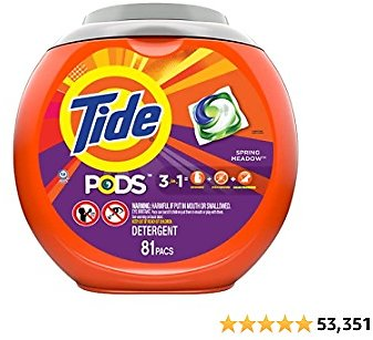 Tide PODS Laundry Detergent Liquid Pacs, Botanical Rain Scent, 4 in 1 HE Turbo, 61 Count (Packaging May Vary) Visit The Tide Sto