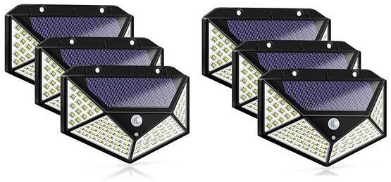 6-Pack Outdoor Waterproof Solar Powered 100 LEDs Wall Lights
