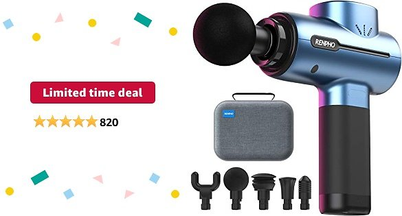 Limited-time Deal: RENPHO Massagers, Massages Gun Deep Tissue, Percussion Workout Muscle Gun Massager for Handheld Foot Hip Leg Massage, 3200rpm Motor 2500mAh Rechargeable Battery Type-C Fathers Gifts