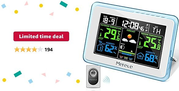 Limited-time Deal: Merece Weather Station - Wireless Indoor Outdoor Thermometer Hygrometer, Color LCD Display Home Forecast Weather Stations with Calendar, Digital Temperature and Humidity Monitor with External Sensor