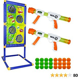Trsmima Shooting Game Toy Set, Fun Kids Shooting Game with 2 Foam Ball Popper Air Toy Gun and Standing Shooting Target & 24 Foam Balls, Ideal Gift for 5 6 7 8 9 10+ Years Olds Boys and Girls