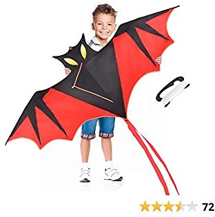 GUJIKE Bat Kites for Kids & Adults Easy to Fly with 2 Tails and 300ft Kite String, Easy to Assemble, A Best Beginner Kite for Everyone