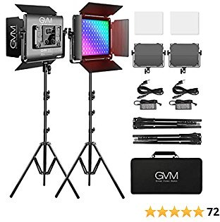 RGB LED Video Light, GVM 45W Photography Lighting Kit with Bluetooth Control, Full Color Video Lighting Kit with 736pcs Led Beads, 8 Applicable Scenes, 2 Packs Led Light Panel for Video Shooting