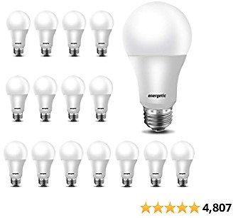 16-Pack 60W Equivalent, A19 LED Daylight Light Bulbs Frosted 5000K, E26 Medium Base, Non-Dimmable LED Light Bulb,750lm,UL Listed