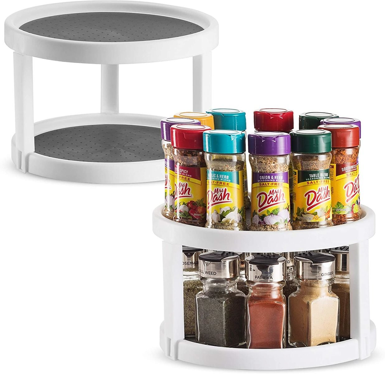Set of 2 Lazy Susan Turntable Cabinet Organizer - 2 Tier