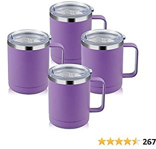 MANYHY 12oz Stainless Steel Coffee Mug with Handle and Sliding Lid, Insulated Travel Cup 4 Pack Bulk, Double Wall Vacuum Thermal Thermos Camping Tumbler for Hot & Cold Tea Drinks (Purple, 4 Pack)