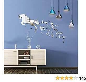 Unicorn Mirror Wall Stickers for Bedroom Decor 48 Pcs Acrylic Mirrors Decals for Home Living Room,Cute Girls Decorations Room(Large)