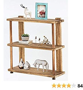 Floating Wall Shelves 3 Tier Rustic Wood Floating Shelves Wall Mounted Bathroom Shelf for Bedoom, Living Room, Kitchen Decor Display and Storage (Carbonized Black)
