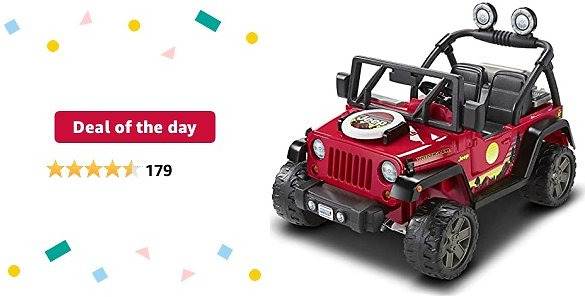 Deal of The Day for Prime Members: Power Wheels BBQ Fun Jeep Wrangler 12V Battery Powered Ride On Vehicle with Pretend Grill and Food for Preschool Kids Ages 3 to 7 Years [Amazon Exclusive]