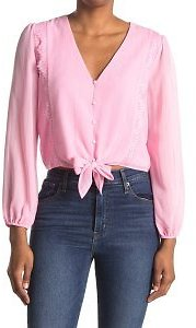 Lace Trim Knotted Long Sleeve Blouse (4 Colors)