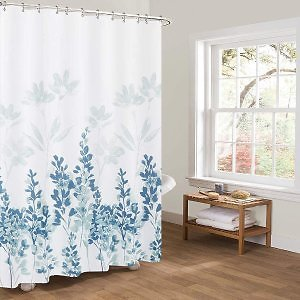 Tian Home Fabric Shower Curtain with 12 Hooks