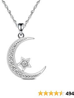GemsChest Sterling Silver Moon Necklace Cubic Zirconia Crescent Moon Star Phase Pendant Necklace Dainty 18