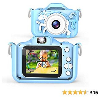 Waayu Upgrade Kids Camera,1080P HD Digital Video Cameras for Children,A Birthday Gifts for Age 3-9 Child,Portable Selfie Toy for 3 4 5 6 7 8 9 Year Old Boys Girls with 32GB SD Card -Blue