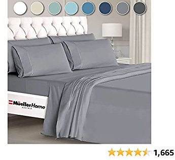 Mueller Ultratemp Bed Sheets Set, Super Soft 1800 Thread Count Egyptian 18-24 Inch Deep Pocket Sheets, Transfers Heat, Breathes Better, Hypoallergenic, Wrinkle, 6Pc, Light Gray Queen