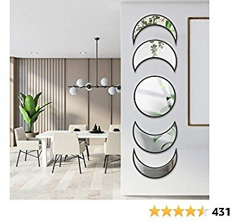 5 Piece Moon Phase Mirror, Scandinavian Natural Decor Wall Mirror Bohemian Wall-Mounted Mirrors, Moon Mirror Wall Decorative Set for Home Living Room Bedroom Entryway